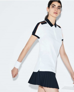 New Women Polo Shirt White And Black Colors With Your Customization