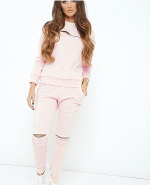 Nude Front Zipper Pullover Loungewear Set Suit