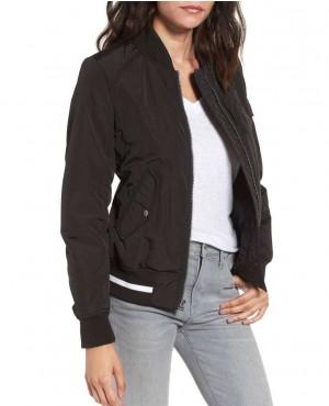 Nylon Black Twill Bomber Jacket
