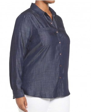 OEM Customize Design Women Navy Blue Denim Shirt Plus Size