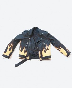 OEM Wholesale Black Leather Biker Jackets For Men American Style Flame Jacket