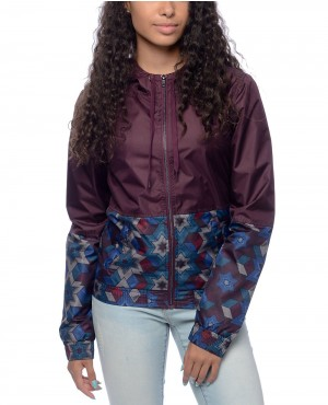 Olia Blackberry Geo Lined Women Windbreaker Jacket