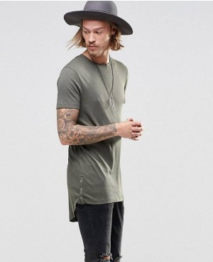 Olive Green Side Buttons Elongated T-Shirt