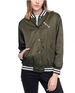 Olive Green Women Varsity Bomber Jacket