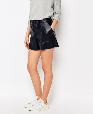 Orange Faux Leather Shorts
