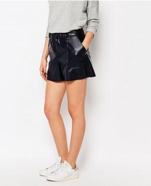 Orange Faux Leather Shorts