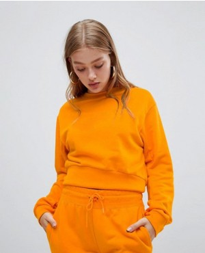Orange Large Swoosh Logo Cropped Sweatshirt