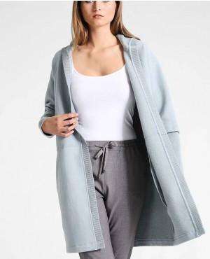 Overlong Sleeves Longline Zipper Hoodie