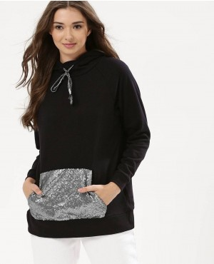 Oversize Hoodie with Velour Contrast Pocket