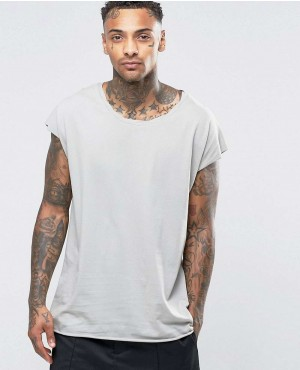 Oversized Sleeveless T-Shirt With Twisted Scoop Neck In Grey