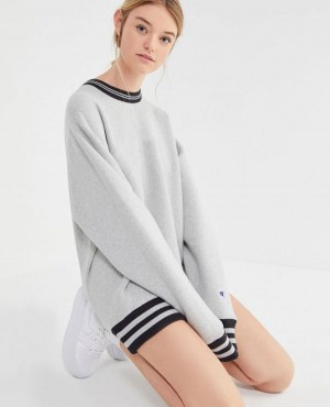 Oversized Sporty Striped Crew Neck Sweatshirt