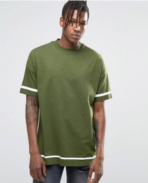 Oversized T-Shirt With White Stripe Print And Wide Neck Trim