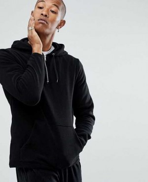 Oversized Fleece Hoodie With Half Zip
