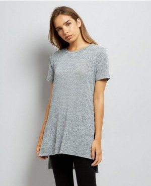 Pale Grey Lace Up Side Longline T Shirt