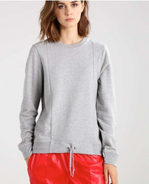 Panel Laces Women Sweatshirt In Grey