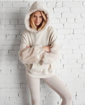 Petite Faux Fur Trim Hooded Sweatshirt