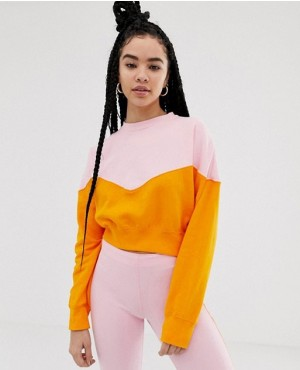 Pink And Orange Colourblock Women Sweatshirt