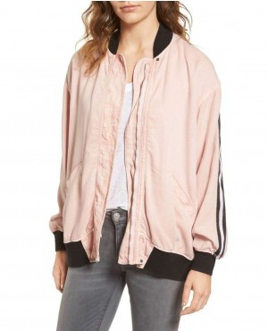 Pink College Stylish Lose Fitting Varsity Jacket