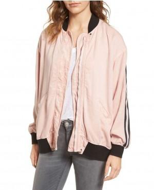 Pink College Stylish Lose Fitting Varsity Jacket