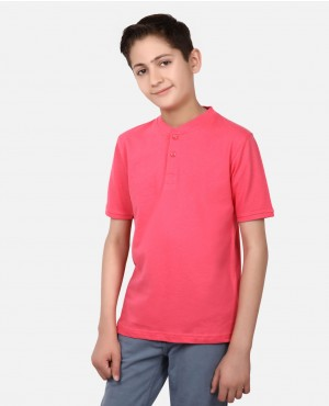 Pink Color Kids Polo Front Two Buttoned Poloshrits