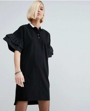 Polo Shirt Dress With Woven Frill Sleeves