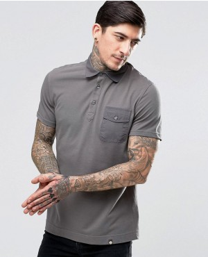 Polo Shirt With Badges In Gray