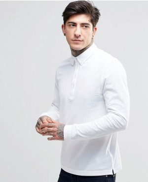 Polo Shirt With Long Sleeves In Slim Fit White