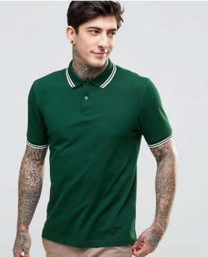 Polo Shirt With Twin Tip Slim Fit In Dark Green