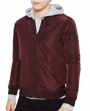 Poly Bomber Jacket Burgundy