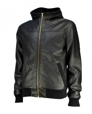 Professional Modern Style High Quality Hot Selling Men Leather Hooded Jacket