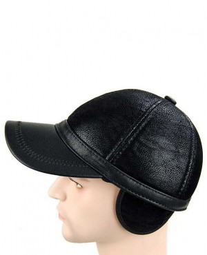 PU Leather Earflap Earmuffs Baseball Cap