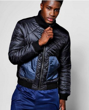 Quilted Bomber With Contrast Pockets