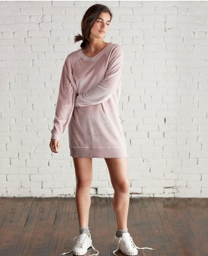 Raglan Long Dress V Neck Velour Sweatshirt Dress