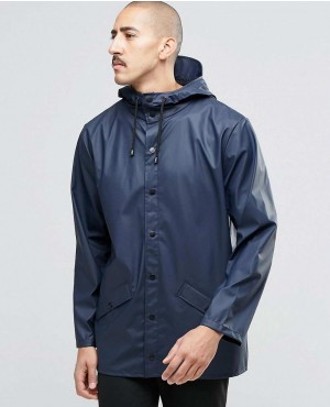 Rains Waterproof Short Jacket In Blue