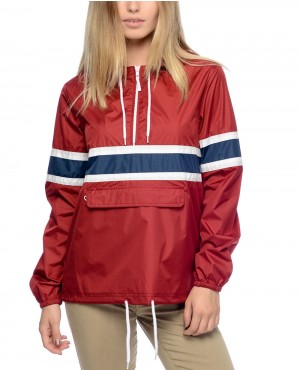 Red Pullover Packable Windbreaker Jacket