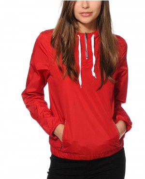 Red Pullover Windbreaker Jacket