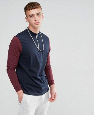 Relaxed Contrast Long Sleeves T Shirt With Zip Turtle Neck