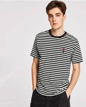 Rose Embroidered Striped Tee