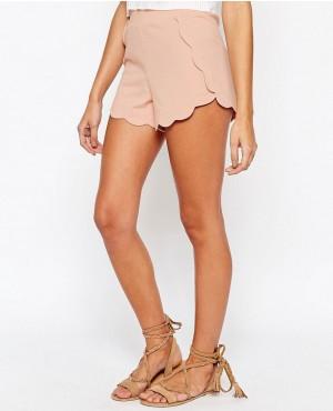 Scallop Hem Jersey Shorts
