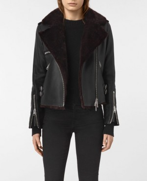 Shearling Leather Biker Jacket