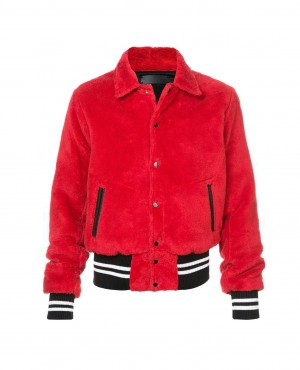Sherpa Fur Classical Collar Fashion Varsity Jacket