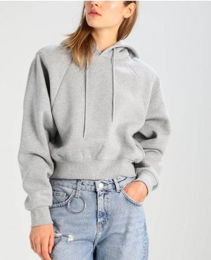 Short Grey Raglan Sleeves Custom Pullover Hoodie