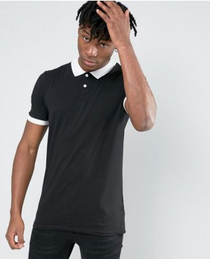 Short Sleeve Polo Shirt In Black Men Shirts