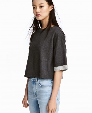 Short Sleeved Cropped Sweatshirt