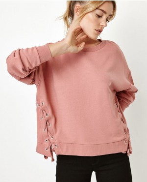 Side Lace Up Crew Neck Sweatshirt