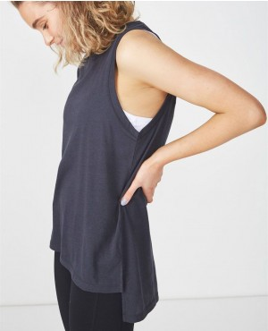 Side Slits Custom Lose Fit Tank Top
