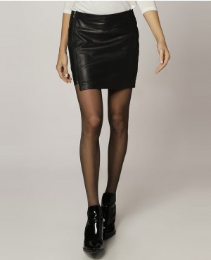Side Zipper Mini Leather Skirt