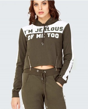 Side Zippers Cropped Hooded