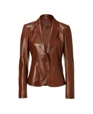 Single Button Women Leather Custom Blazers