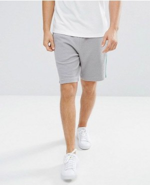 Skinny Textured Crepe Short With Side Stripe